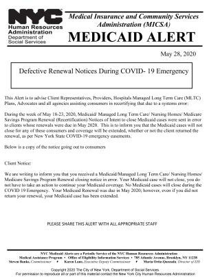HRA Medicaid Alert (5-28-20)
